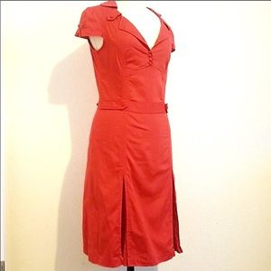 Ted Baker Retro Pleated Dress Red size TED 0 US 4